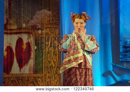 DNIPROPETROVSK, UKRAINE - MARCH  19, 2016: Disappearance of princess Fefela performed by members of the Dnipropetrovsk Youth Theatre Small Stage.