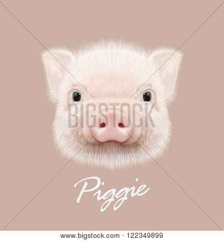 Cute head of little Piggy on tan background.
