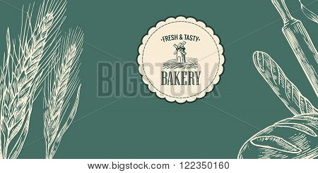 Wheat ears. Black and white color. Bakery sketch. Vintage vector engraving illustration for label,  corporate identity, badges, presentations, flayer for bakery shop.
