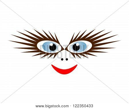Funny mask with blue eyes and long eyelashes