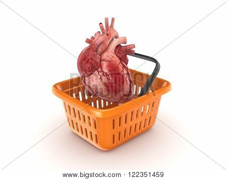 Realistic human heart in a basket isolated on white. 3d rendered.