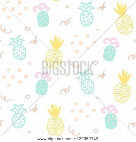 Baby pattern pastel pineapple seamless design. Nursery kid background for bed linen and apparel. Ananas yellow and mint fun pattern.