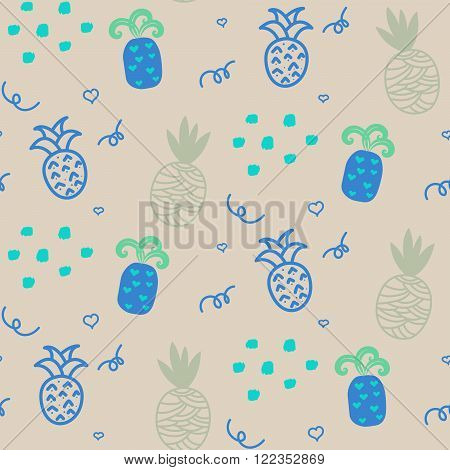 Baby pattern beige and blue pastel pineapple seamless design. Nursery pineapple kid background for bed linen and apparel. Ananas pineapple coffee mint fun pattern.