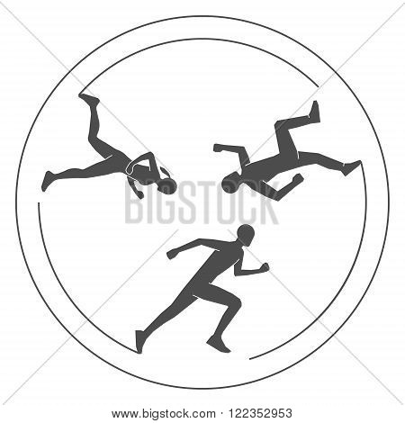 Modern logo running club. Vector symbol jogging. Silhouettes runners on a white background.