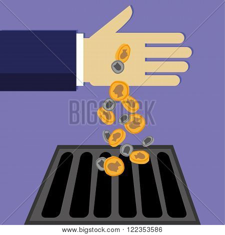 Businessman hand pouring money down the drain in the form of gold and silver coins