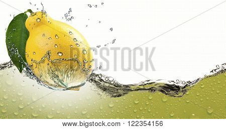 Ripe citrus lemon lime,amid a spray of juice.