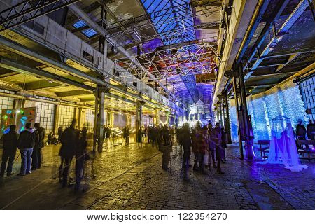 People Enjoy Watching Light Objects At Night During Luminale  In Frankfurt