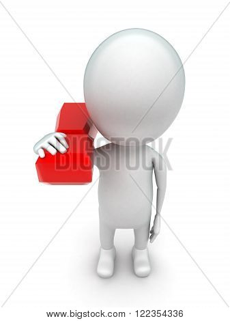 3D Man Carrying Exclamation Mark On Shoulder Concept