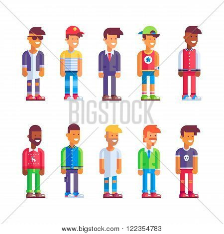 Kit of male characters in flat design. Stock vector illustration.
