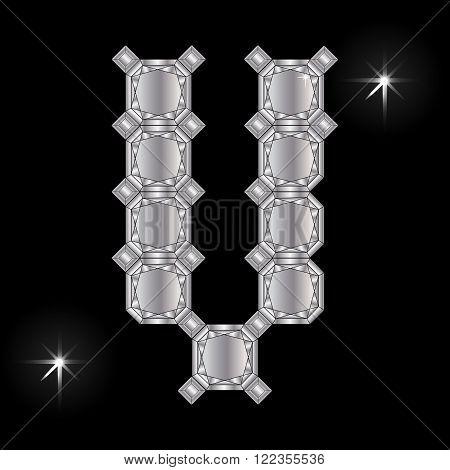 Metal letter V. Faceting gemstone. Geometric polygonal shapes