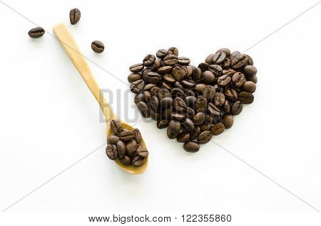Heart Made Of Coffee Beans On White Background, Love Coffee, Coffee Beloved, Valentine's Coffee
