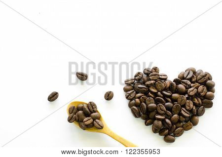 Heart made of coffee beans on white background love coffee coffee beloved Valentine's coffee