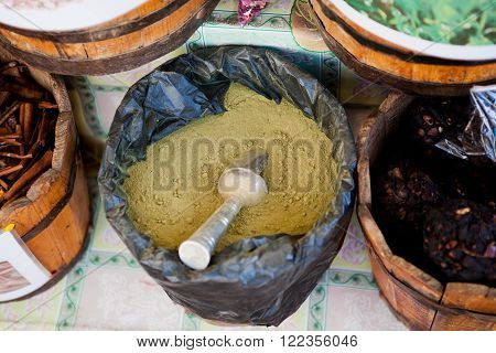 spices and teas in large rollers on the market in Egypt