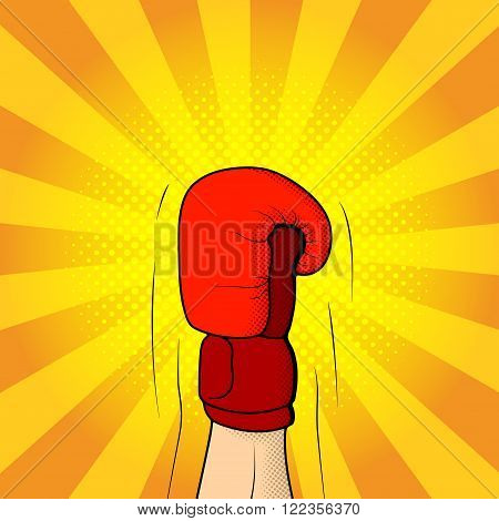 Illustration of boxing glove raised up on the yellow background in pop art style. Hand of boxer in pop art style. Vector illustration.