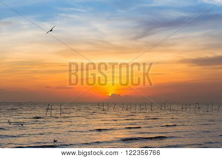 Skyline, sunset over seacoast, beautiful natural background