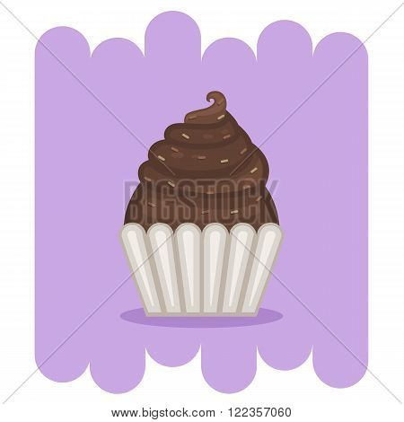 Cupcake.Muffin.Cartoon Chocolate muffin icon .Chocolate cupcake vector.Chocolate muffin isolated on purple background.Chocolate cupcake dessert. Vector Chocolate sweet.Chocolate food.