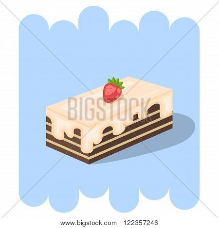 Cartoon cake.Chocolate cake icon with strawberry and cream.Chocolate cupcake vector.Chocolate muffin isolated on blue background.Chocolate cupcake dessert. Vector Chocolate sweet.Chocolate food.