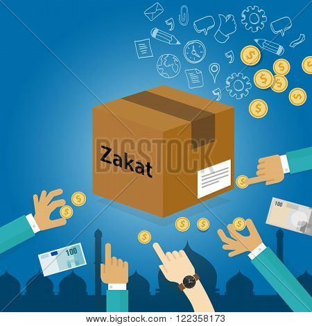 zakat giving money to the poor islam concept religious tax charity vector