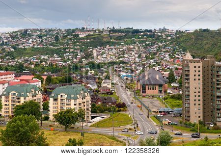 Puerto Montt Chile - December 5 2012: Panoramic view of Puerto Montt Chile in cloudy weather.