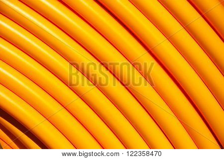Closeup of a yellow internet cable roll