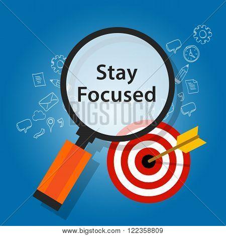 stay focused on target reminder goals vector flat illustration