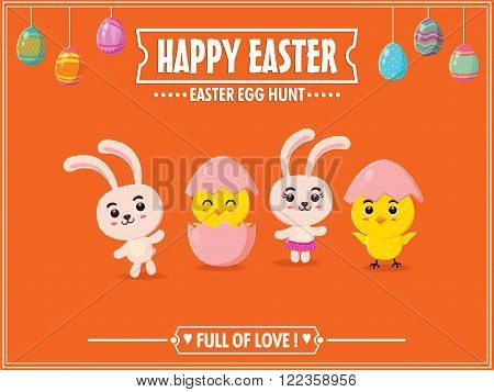 Vintage Easter Egg poster design with Easter bunny & little chick