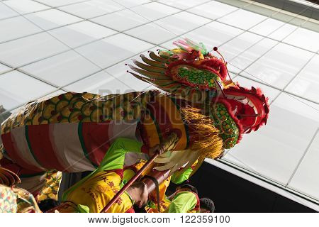 Bangkok, Thailand - February 8, 2016 : Dragon and lion dance show in chinese new year festival.