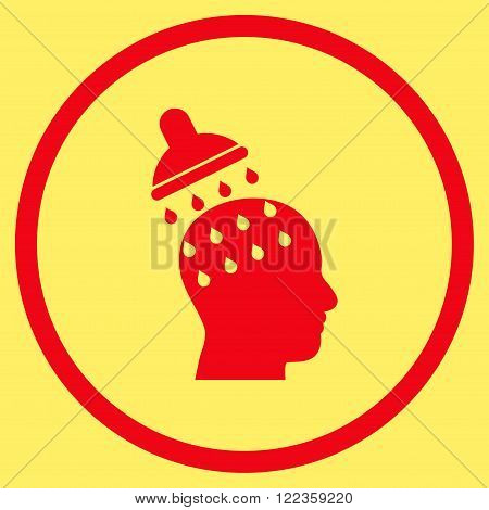Brain Washing vector icon. Image style is a flat icon symbol inside a circle, red color, yellow background.