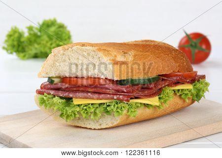 Sub Sandwich Baguette With Salami Ham