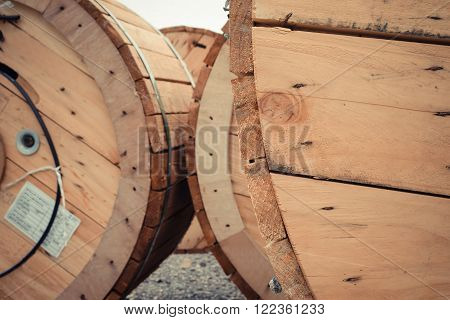 This a photo of Big wooden cable roll