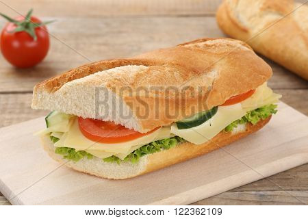 Sub Sandwich Baguette With Cheese For Breakfast