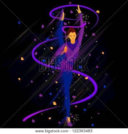 easy to edit vector illustration of woman rhythmic gymnastics with ribbon
