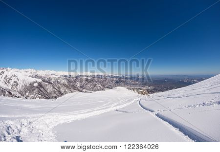 Freeriding On Fresh Snowy Slope, Panoramic View, Italian Alps