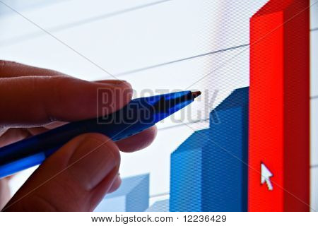 closeup of pen showing financial graph on screen