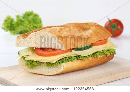 Sub Sandwich Baguette With Cheese