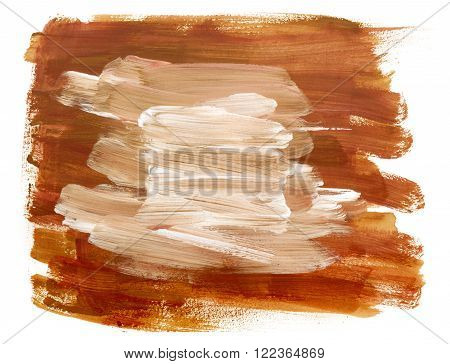 Abstract artistic background texture made up by golden colored brush strokes on white background with more white brush marks in the middle for text