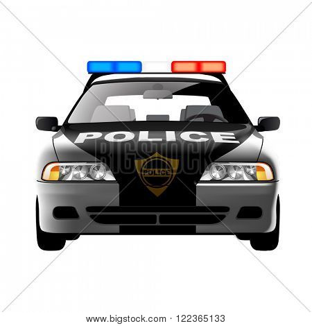 Police car in frontal view isolated on white. Contain the Clipping Path