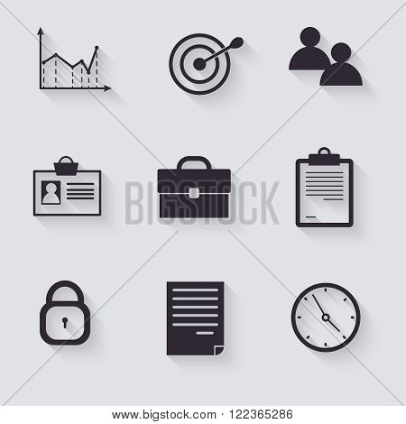 Business black icons with shadow. Vector illustration.