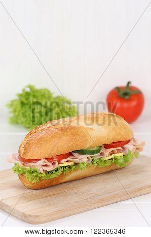 Sub Deli Sandwich Baguette With Ham And Copyspace Copy Space