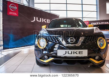SAMARA RUSSIA - NOVEMBER 15 2015: Presentation Nissan Juke at the office of official dealer Nissan. Nissan is a Japanese multinational automaker
