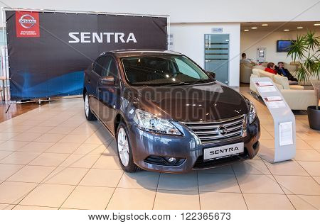 SAMARA RUSSIA - NOVEMBER 15 2015: Presentation Nissan Sentra at the office of official dealer Nissan. Nissan is a Japanese multinational automaker