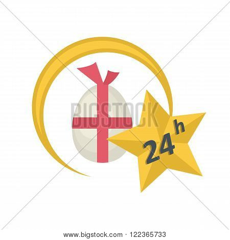 Vector label arrow icon with  easter egg and star and text twenty four hours sale concept in flat style.Easter sale icon flat style.Easter sale label  concept for holiday design