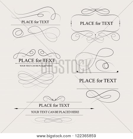 Floral design elements vintage dividers in black color. Page decoration. Vector illustration. Isolated on white background. Can use for birthday card wedding invitations