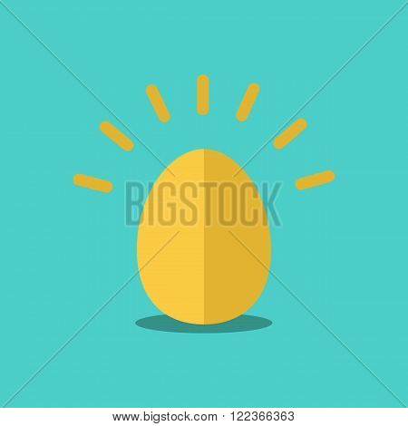 Golden Egg vector illustration.Chicken Gold Egg vector.Gold egg shiny.Golden Egg flat style.Easter egg.Easter egg for holiday design.Golden Egg illustration