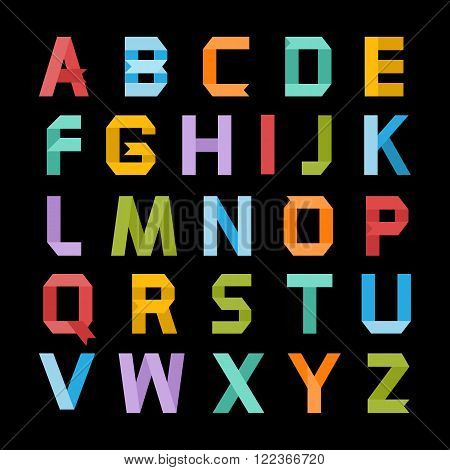 Alphabet vector .Paper ribbon alphabet.Vector Alphabet isolated.Vector Alphabet flat style.Vector Color bright Alphabet.Vector font isolated on a black background.Vector Type