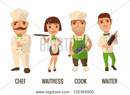 Waiter with bottle wine. Cook man with knife. Proud chef cook man with a mustache crossed his arms. Waitress with tray. Vector flat illustration on white background.