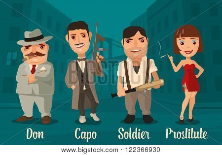 Set person Mafia. Don, capo, soldier, prostitute. Vector flat illustration on background of city streets