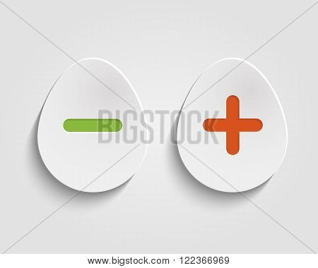 Vector realistic egg buttons Vector add, cancel, or the plus and minus signs on buttons in form egg icons isolated on white background