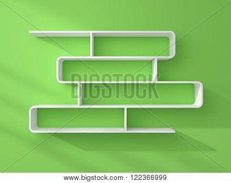 3d rendered composition of empty modern shelves.