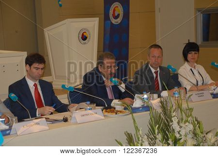 ANKARA/TURKEY-JUNE 2: The member of the TOBB Board of Directors Faik Yavuz and Russia Leningrad Region Vice-Governor Dmitry Yalov told about investment climate of the region, measures of state support for investment activity.  June 2, 2015-Ankara/Turkey